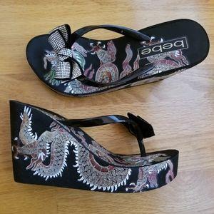 Bebe black  wedge sandals